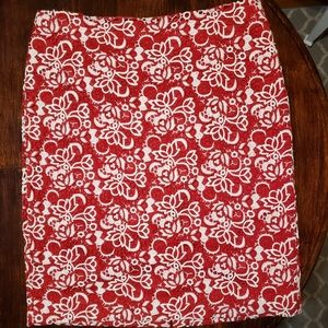 Talbots sz 16 red and white embroidered skirt